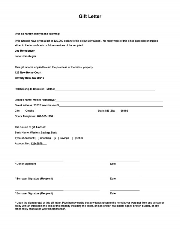 loan gift letter template - gift money for down payment and gift letter form download