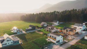 Aerial view of rural neighborhood homes